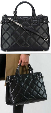 'Banner' Quilted Tote Bag, Black - DESIGNER INSPIRED FASHIONS