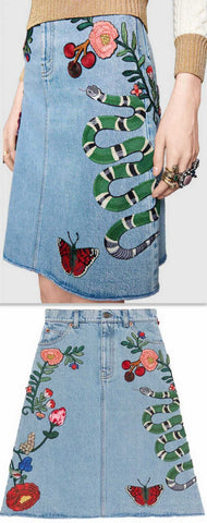 Embroidered Denim Mini Skirt | DESIGNER INSPIRED FASHIONS