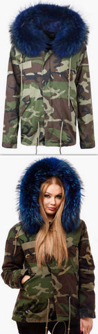 'Camo' Fur Parka Jacket-Blue - DESIGNER INSPIRED FASHIONS