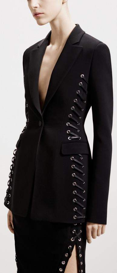 'Merrie' Lace-up Black Blazer - DESIGNER INSPIRED FASHIONS
