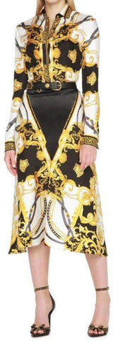 Baroque Satin Printed Midi Skirt