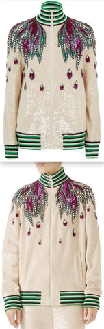 Long-Sleeve Sequin Embroidered Bomber Jacket with Jewel Trim *Limited Stock*