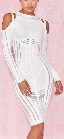 'Madrina' White Bandage Cold Shoulder Dress | DESIGNER INSPIRED FASHIONS