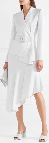 Belted Asymmetric Crepe Blazer and Skirt Set