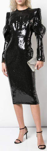 'Declan' Sequin Long Sleeve Crew Drape Dress, Black | DESIGNER INSPIRED FASHIONS