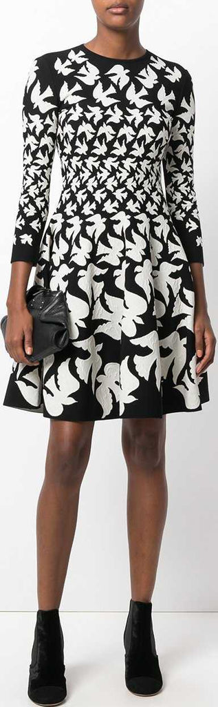 Bird Printed Skater Dress