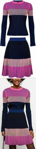 Ribbed Knit Multi Colored Sweater ans Skirt Set | DESIGNER INSPIRED FASHIONS