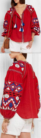 'Kilim' embroidered linen Boho blouse in Red or White
