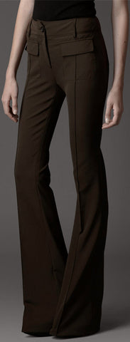Long Flared Trousers - Brown or Black - *Extended Inseams available*