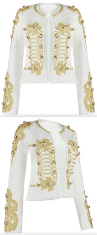Embroidered Military Jacket, White