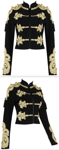 Embroidered Military Jacket, Black