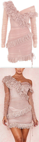 Lace Frilled Mini Dress | DESIGNER INSPIRED FASHIONS