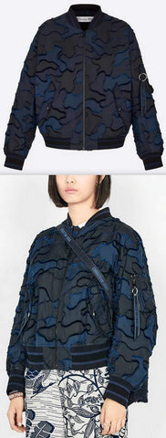 Blue and Black Fantaisie Camouflage Bomber Jacket | DESIGNER INSPIRED FASHIONS