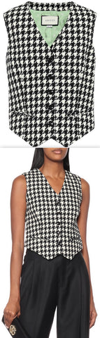 Houndstooth Wool and Cotton Vest | DESIGNER INSPIRED FASHIONS