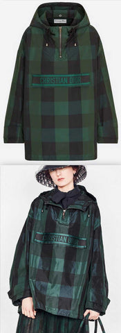 Hooded Anorak in Taffeta with Check Motif, Green/Black