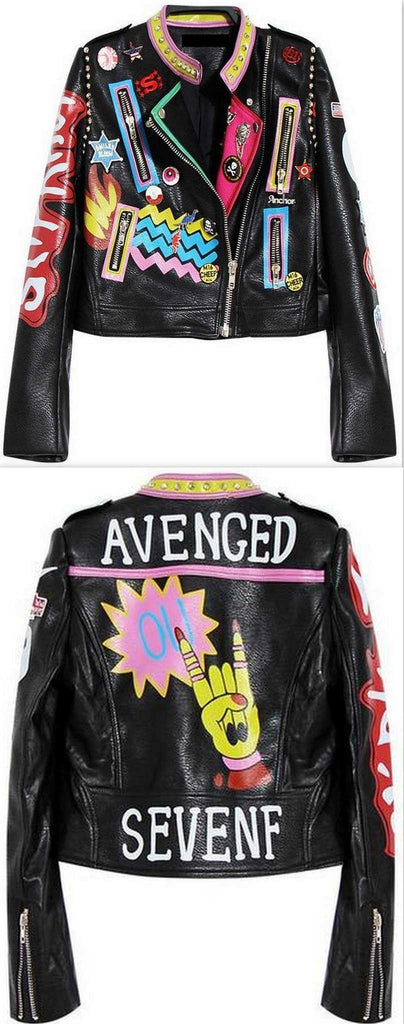 Embellished 'Rock Group' Faux Leather Jacket - DESIGNER INSPIRED FASHIONS