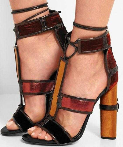 a7021067edbf ... Patchwork Leather Cage Sandals-Multi - DESIGNER INSPIRED FASHIONS ...