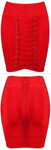 Lace-up Stretch Mini Skirt, Candy Apple Red - DESIGNER INSPIRED FASHIONS