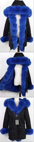 Army Parka Military Parka Coat with Fox Fur-Black/Blue | DESIGNER INSPIRED FASHIONS
