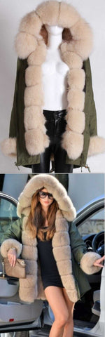 Army Parka Military Parka Coat with Fox Fur-Army/Olive Green & Cream | DESIGNER INSPIRED FASHIONS
