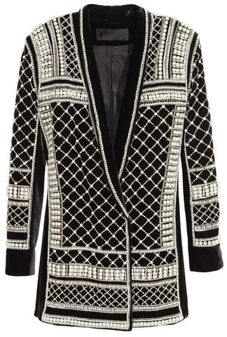 Bead & Crystal Embellished Long Black Velour Jacket | DESIGNER INSPIRED FASHIONS