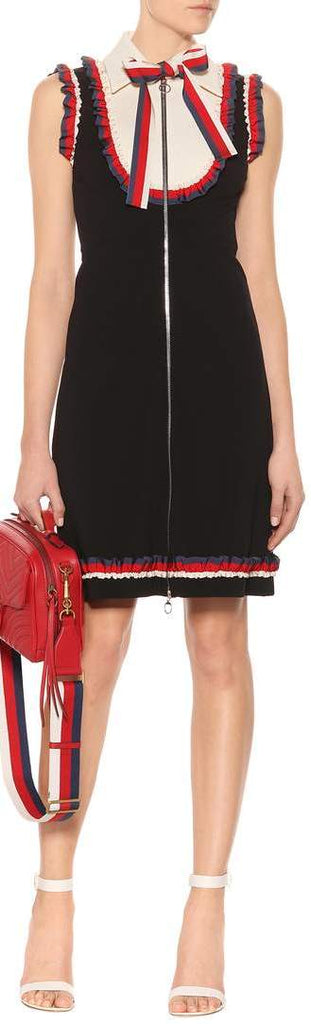 Black Sleeveless Ruffle-Web-Trim Dress