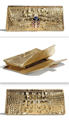 Metallic Crocodile Embossed Clutch | DESIGNER INSPIRED FASHIONS
