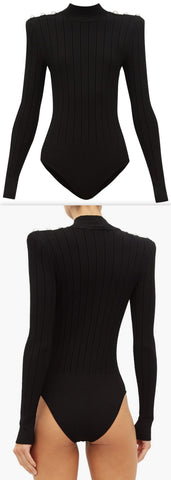 Crest-Button Ribbed-Knit Bodysuit, Black | DESIGNER INSPIRED FASHIONS