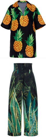 Pineapple Print Top and Print Cropped Pant Set