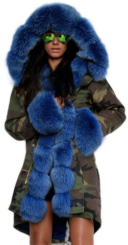 Army Parka Military Camouflage Parka Coat with Fox Fur-Blue | DESIGNER INSPIRED FASHIONS