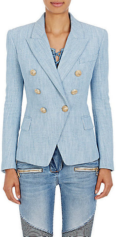 Cotton-Blend Double-Breasted Blazer | DESIGNER INSPIRED FASHIONS