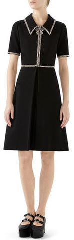 Crystal-Trim Short-Sleeve Fit-and-Flare Dress