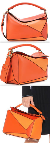 Puzzle Leather Shoulder Bag, Orange