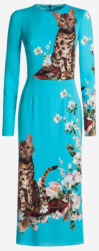 Bengal Cat Printed Dress, Blue