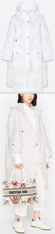 Hooded White Camouflage Technical Coat