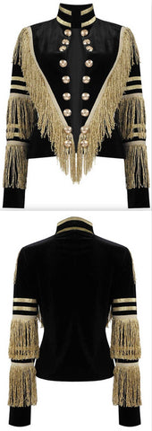 Fringed Velvet Military Jacket | DESIGNER INSPIRED FASHIONS