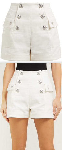 Button-Embellished Shorts, White