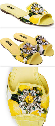 'Bianca' Lemon Printed Embellished Sandals | DESIGNER INSPIRED FASHIONS