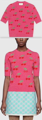 GG Cherry Jacquard Wool Knit Top | DESIGNER INSPIRED FASHIONS