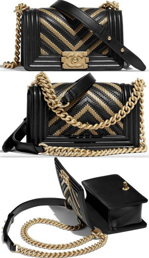 Small Boy Gold Tone and Black Handbag | DESIGNER INSPIRED FASHIONS