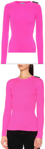 Ribbed Knit Sweater, Neon Pink | DESIGNER INSPIRED FASHIONS