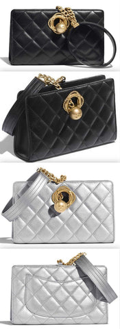 Diamond Padded Clutch  - Black or Silver