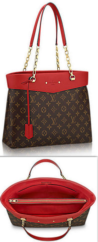 'Pallas' Monogram Shopper, Red - DESIGNER INSPIRED FASHIONS