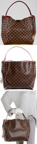 Caissa Damier Hobo, Red or Pink | DESIGNER INSPIRED FASHIONS