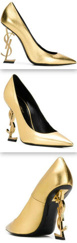 'Opyum' Pumps With Gold-Toned Heel In Smooth Leather | DESIGNER INSPIRED FASHIONS