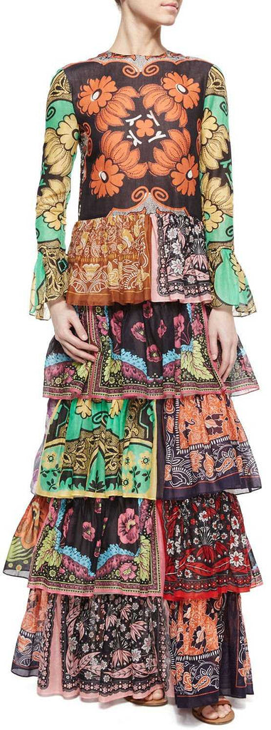 Colorful Patchwork-Print Long Ruffle Tiered Dress | DESIGNER INSPIRED FASHIONS