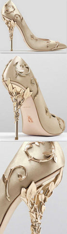 'Eden' Pumps with Metal Leaves, Gold - DESIGNER INSPIRED FASHIONS