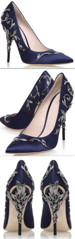 'Eden' Pumps with Metal Leaves, Dark Blue - DESIGNER INSPIRED FASHIONS