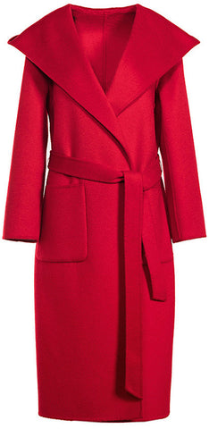 Hooded Wool Wrap Coat, Red