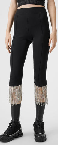 Crystal Fringe Stretch Jersey Leggings | DESIGNER INSPIRED FASHIONS